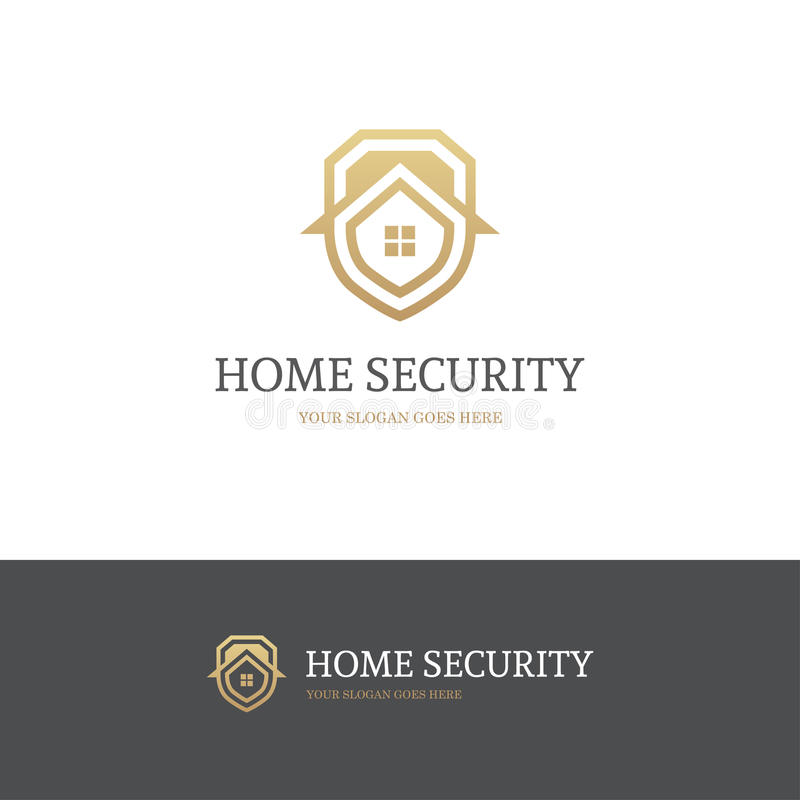 Golden house security logo vector illustration
