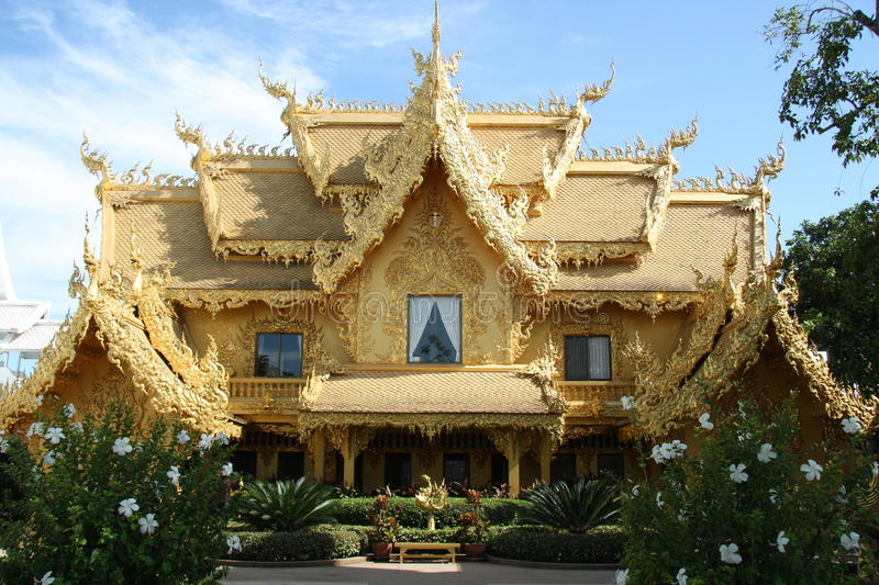 Golden house in Thailand royalty free stock photos