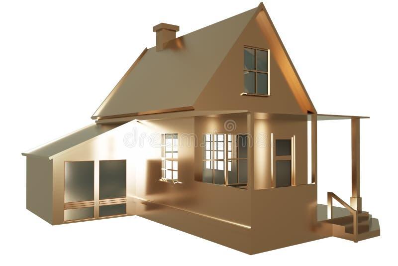 The golden house on the white background. 3d illustration royalty free illustration