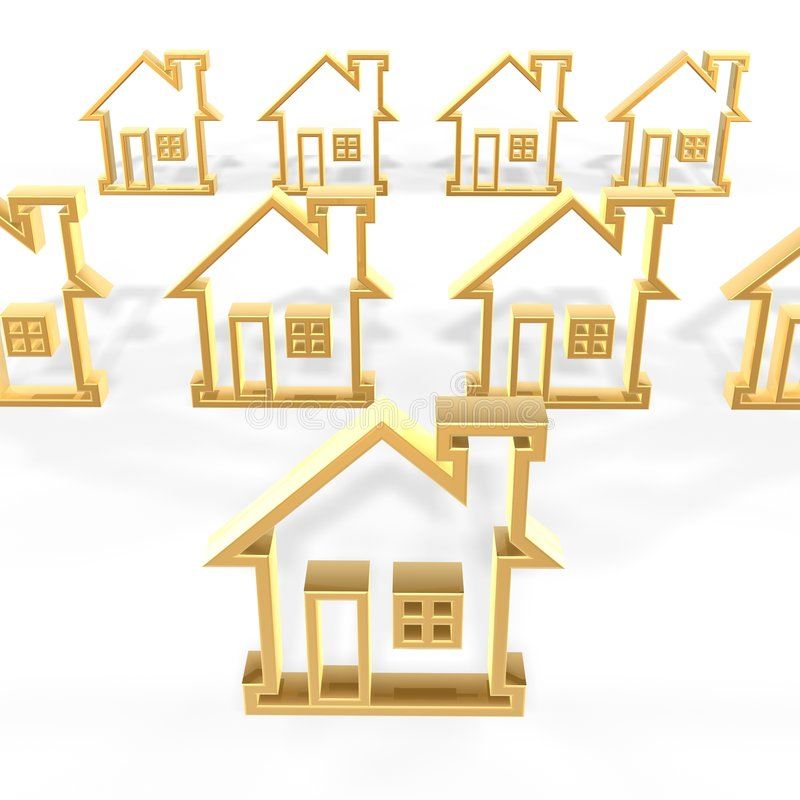 Golden houses stock illustration