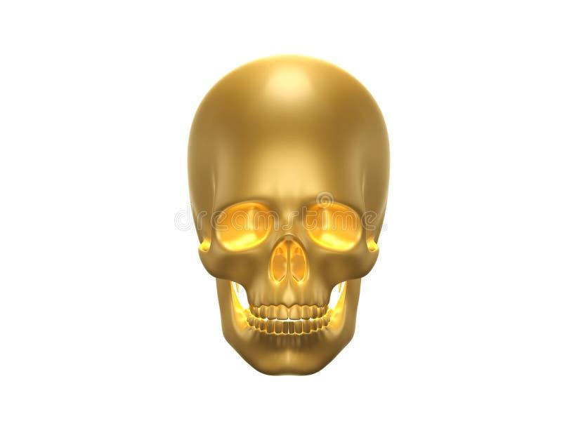 Golden Human skul royalty free illustration