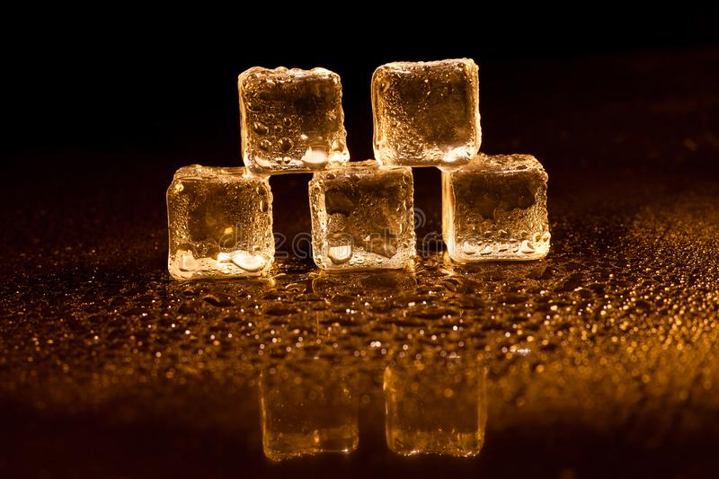 Golden ice cubes on black background. Alcohol, alcoholic, amber, bar, beverage, bottle, bourbon, brandy, brown, close-up, closeup, cocktail, cognac, cold, cool royalty free stock image
