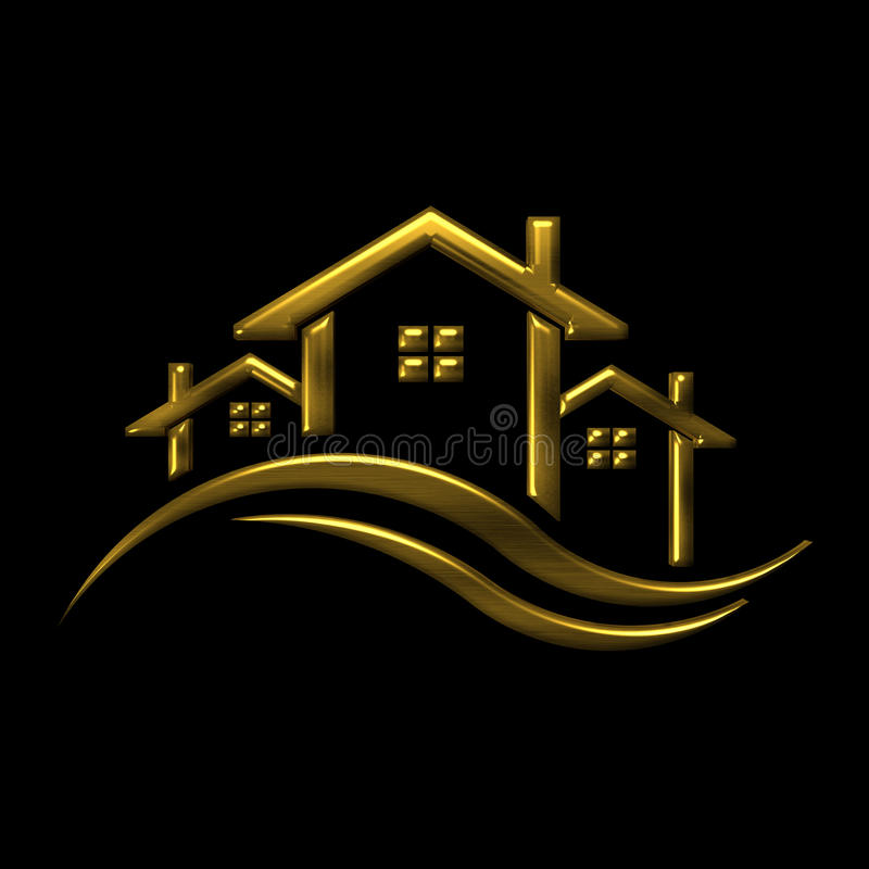 Golden icon Houses 3D illustration logo royalty free illustration