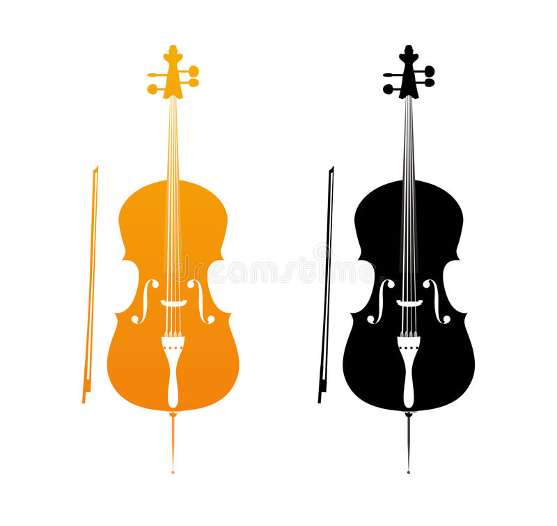 Golden Icons of Cello royalty free illustration