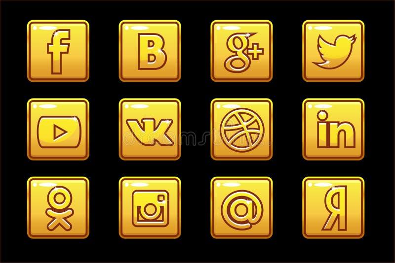 Golden icons Social media. Square buttons set stock illustration