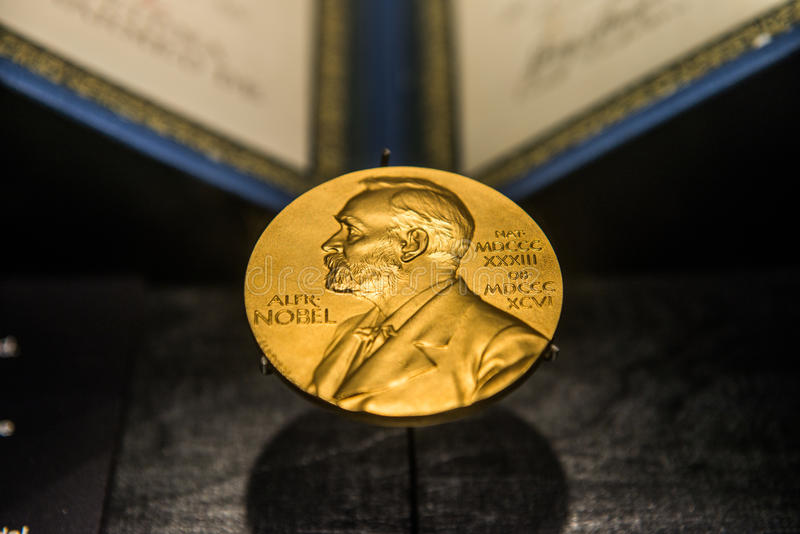 Golden image of the Nobel Prize royalty free stock photo