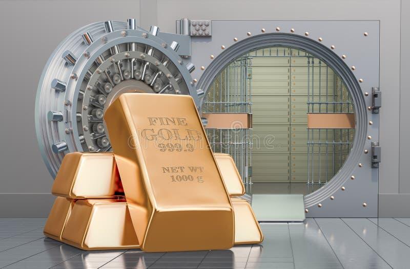 Golden ingots with opened bank vault, 3D rendering. Golden ingots with opened bank vault, 3D vector illustration