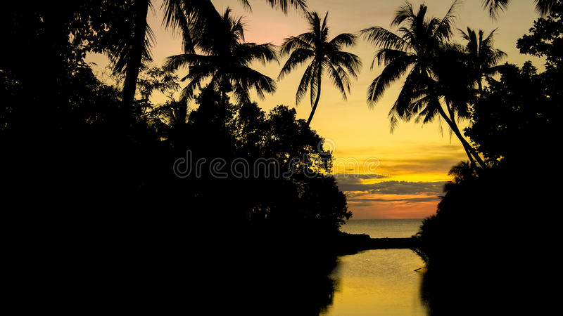 Golden Island Sunset royalty free stock image