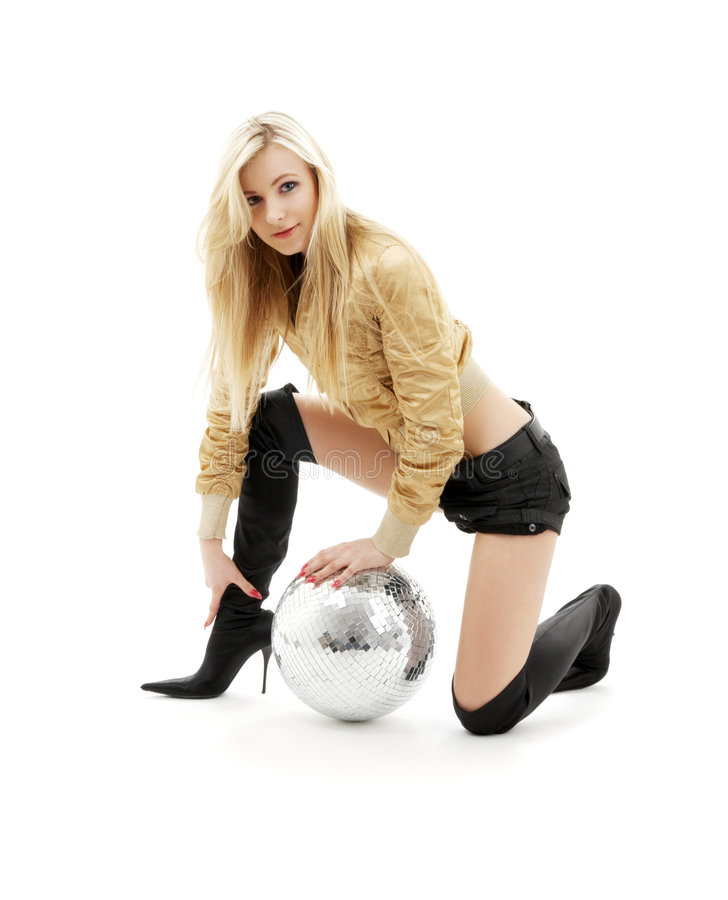 Golden jacket girl with disco ball #3 royalty free stock photo