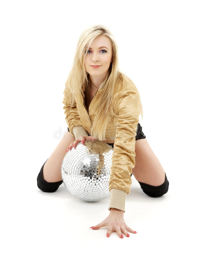 Golden jacket girl with disco ball #4 stock photography