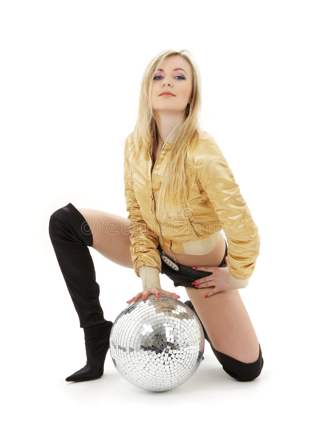 Download Golden Jacket Girl With Disco Ball Royalty Free Stock Image - Image: 4180076
