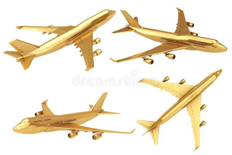 Golden Jet Passenger's Airplane. 3d Rendering vector illustration