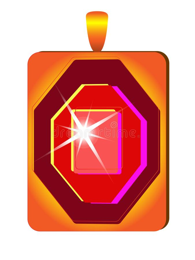 Golden jewel with red sparkling gem. Gold pendant with ruby. Precious pendant with gem. stock illustration