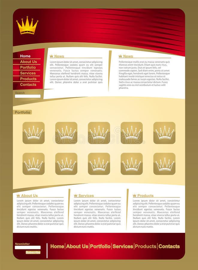 Golden jewelery web page template. With crown element vector illustration