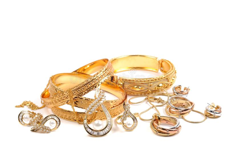 Golden jewelry stock photography