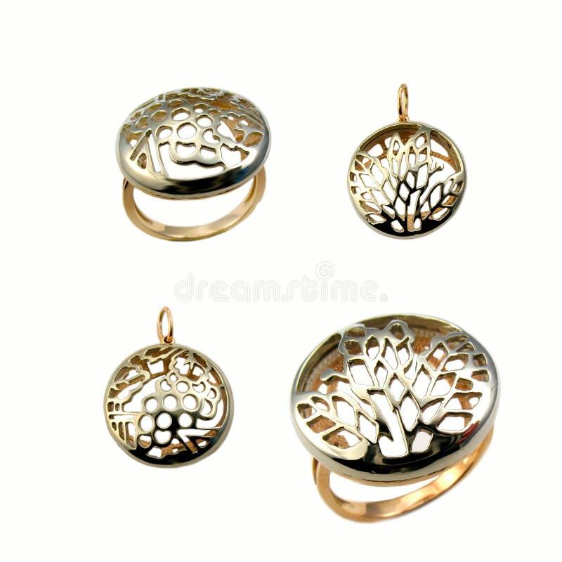 Golden jewelry stock photo