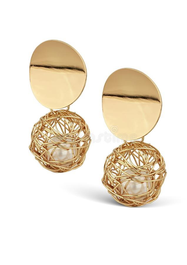 Golden Jewelry earrings with pearl isolated on white, clipping pass royalty free stock images