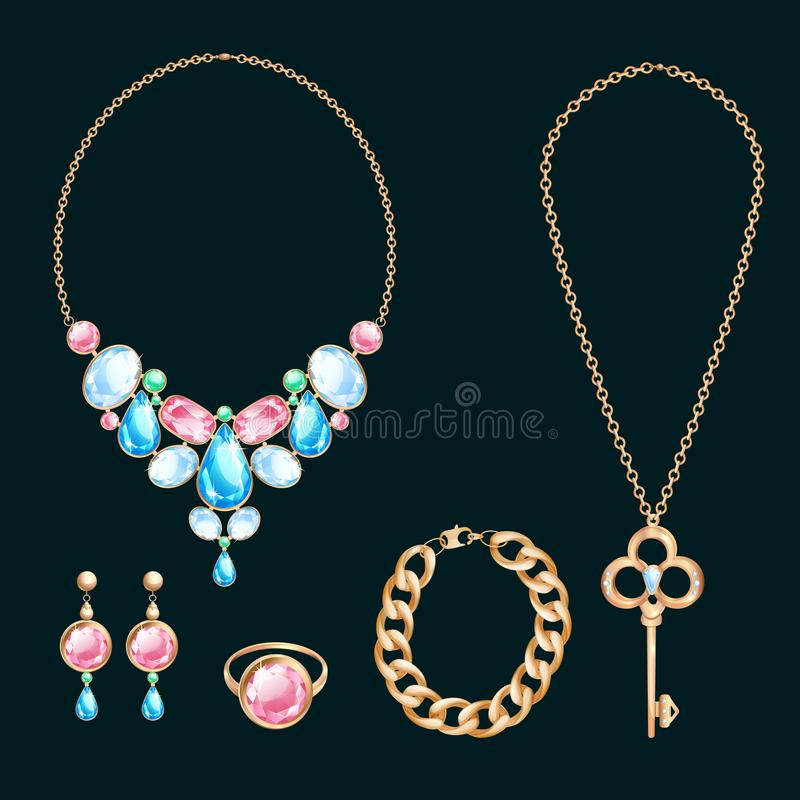 Golden jewelry and gems, vector cartoon illustration. Set of diamond necklace, chain and wedding rings royalty free illustration