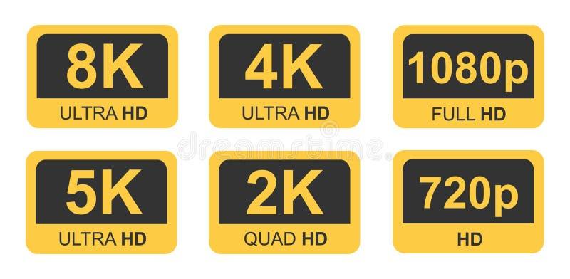 Golden 8k 4k 5k Ultra Hd Video Resolution Icon Logo High Definition Tv Game Screen Monitor Stock Vector Illustration Of Icon Hdtv 170695166