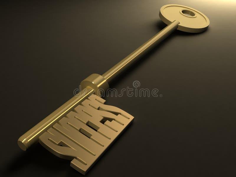 Golden key stock image