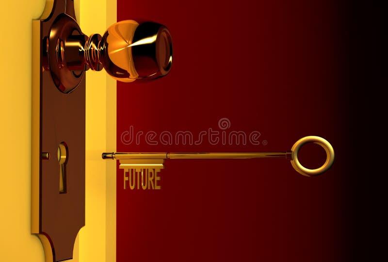 Golden key vector illustration