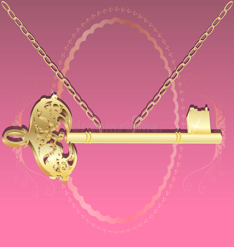 Golden Key On A Chain Stock Image