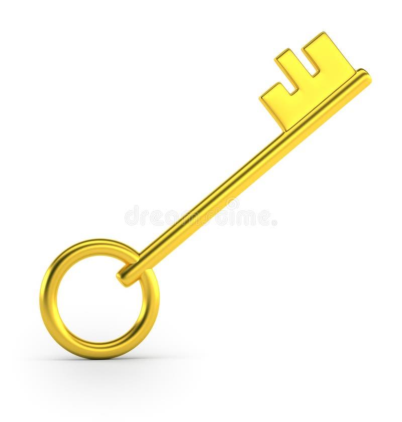 Golden key. Isolated white background, 3d stock illustration