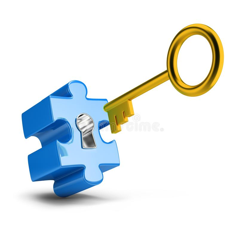 Key and puzzle. Golden key opens blue puzzle. 3d image. White background royalty free illustration
