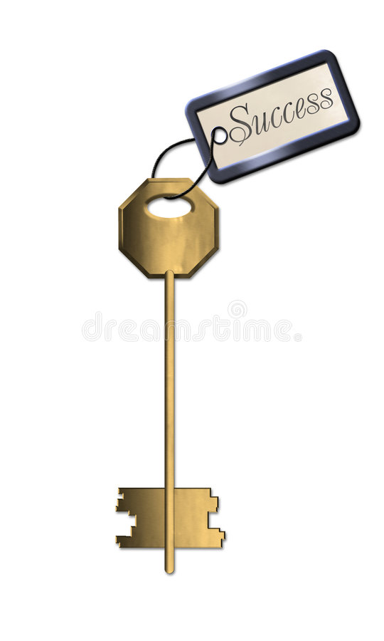 Golden key of success stock photo