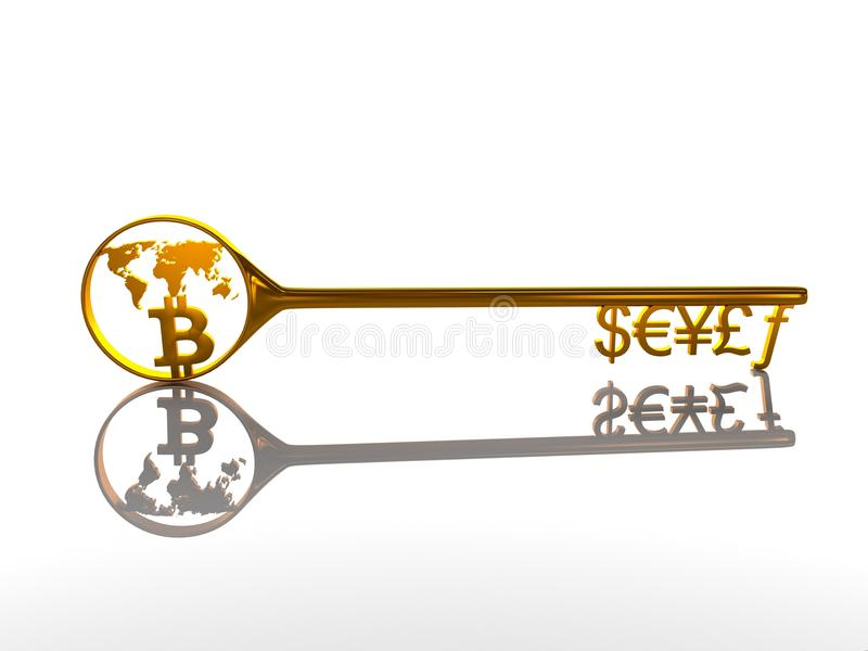 Golden key with symbols and Bitcoin currency on a white background, 3d illustration. The golden key to the currency symbol and Bitcoin stock illustration