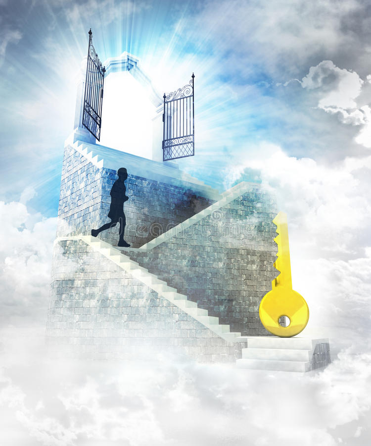 Golden key to access on top with gate entrance and stairway royalty free illustration
