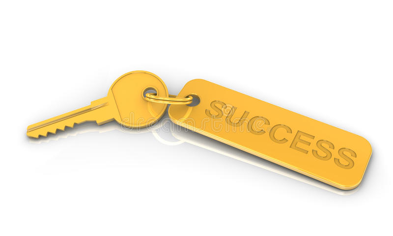 Golden key to success. On a white background. Image concept and part of a series stock illustration