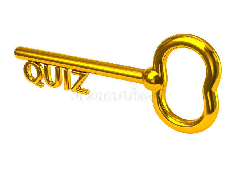 Golden key with word quiz stock illustration
