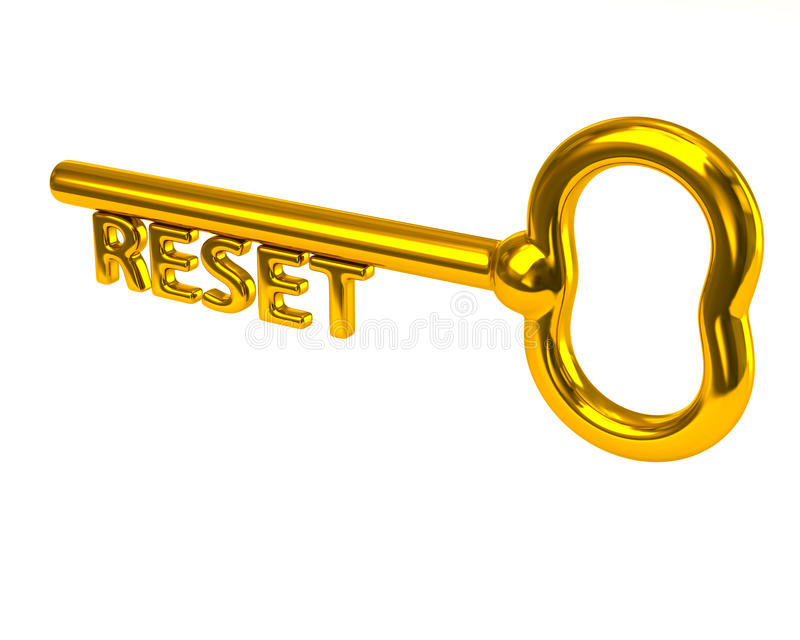 Golden key with word reset stock illustration