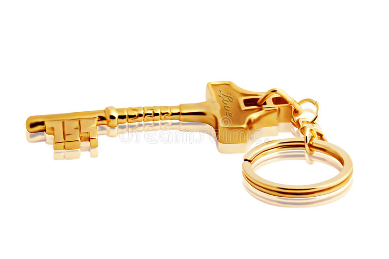 Golden Keychain on white with Clipping Path. Isolated Golden Keychain on white with Clipping Path stock images