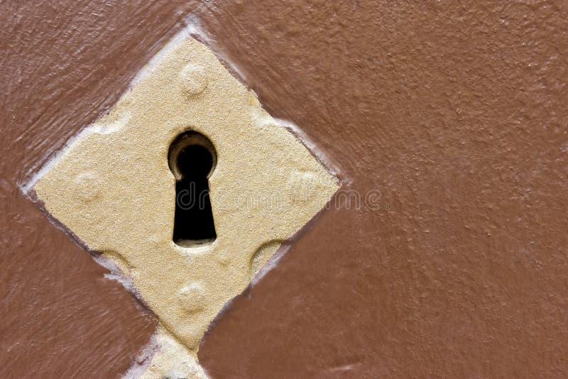 Golden keyhole stock image