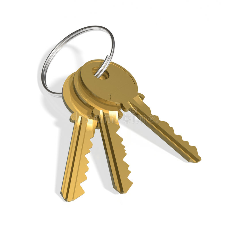 Golden keys. Three golden keys on white surface royalty free illustration