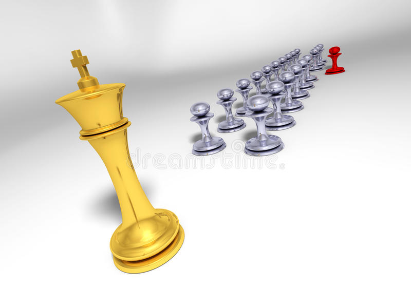Download Golden King In Front Of Grey Pawn Ranks Stock Illustration - Image: 14837644