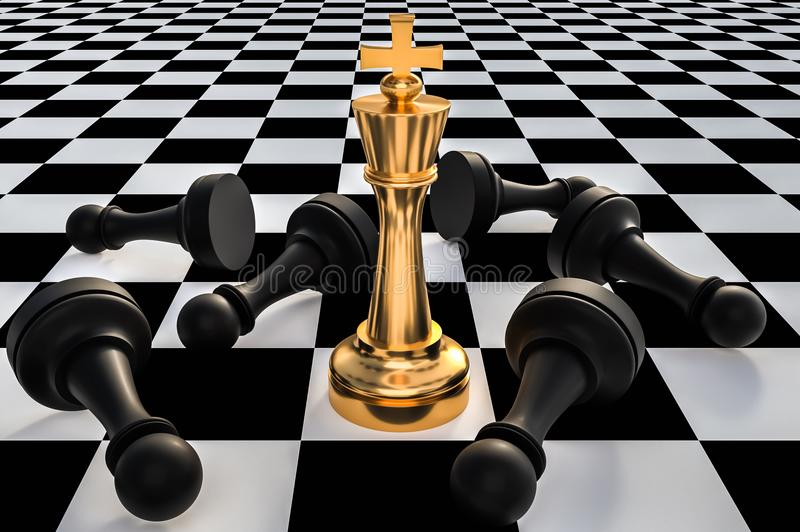 Golden King and many fallen pawns - chess leadership concept royalty free illustration