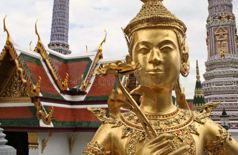 golden kinnari bangkok grand palace thailand stock images