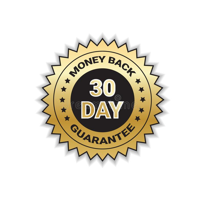 Golden Label Money Back In 30 Days With Guarantee Template Stamp Isolated vector illustration