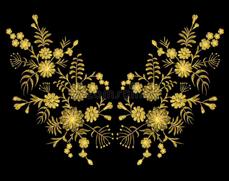 Golden lace pattern of flowers on a black background. Imitation embroidery. Chamomile, forget-me-not, gerbera, paisley rustic vint stock illustration
