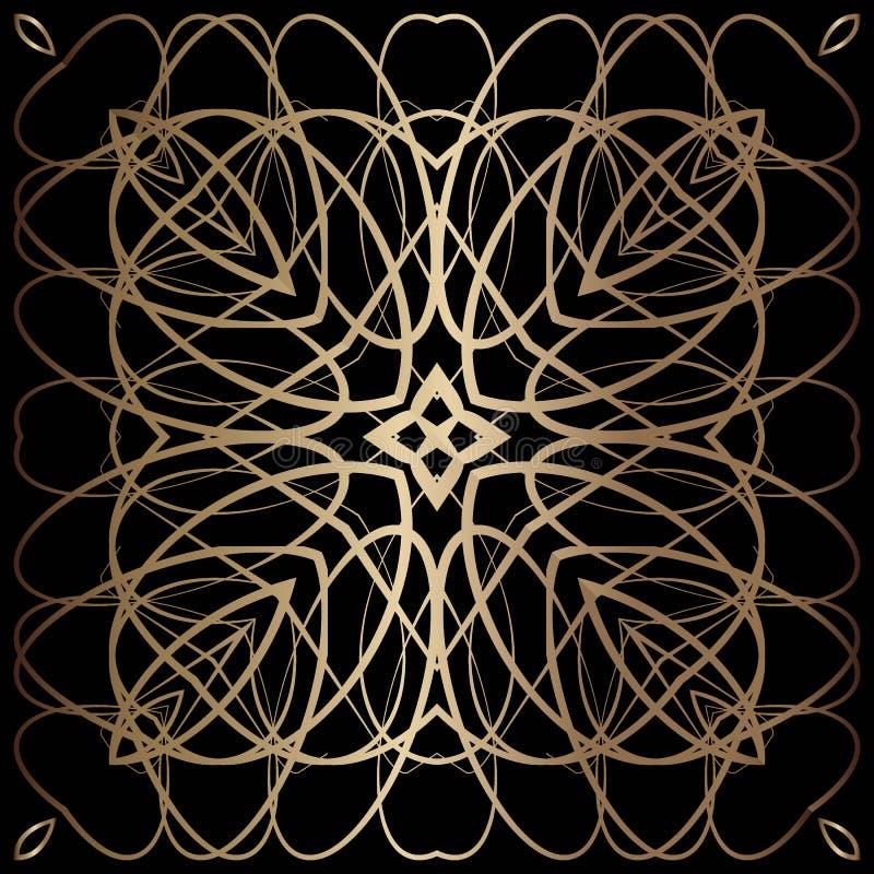 Golden lace pattern royalty free illustration