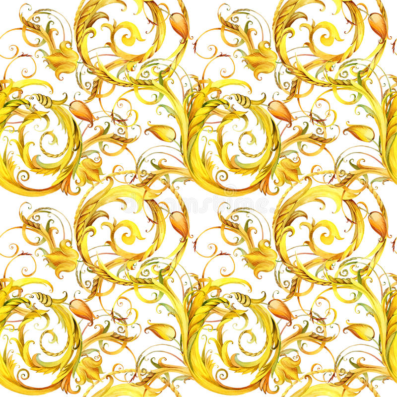 Golden lace seamless pattern. vintage curl watercolor background. vector illustration