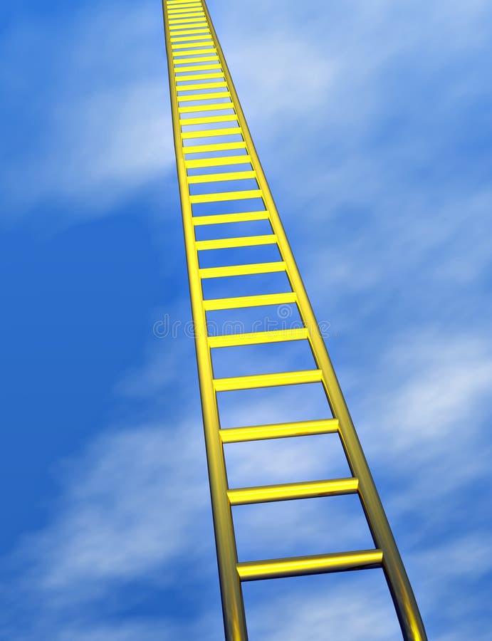 Golden ladder in the sky stock illustration