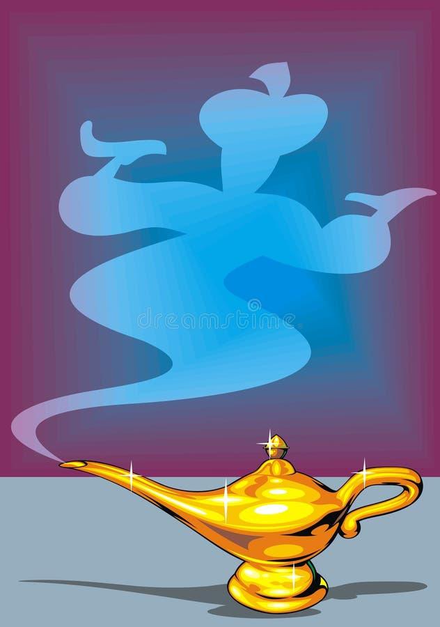 Golden lamp. Illustrated golden Aladdin's lamp as interesting background stock illustration