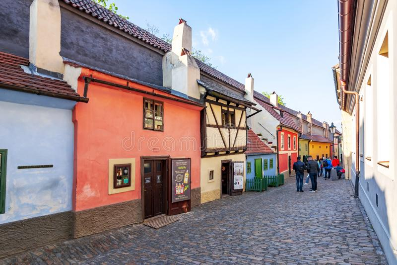 Golden Lane with colorful houses in Prague Castle, Czech Republic royalty free stock photos