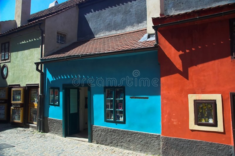 Golden Lane homes, Prague stock images