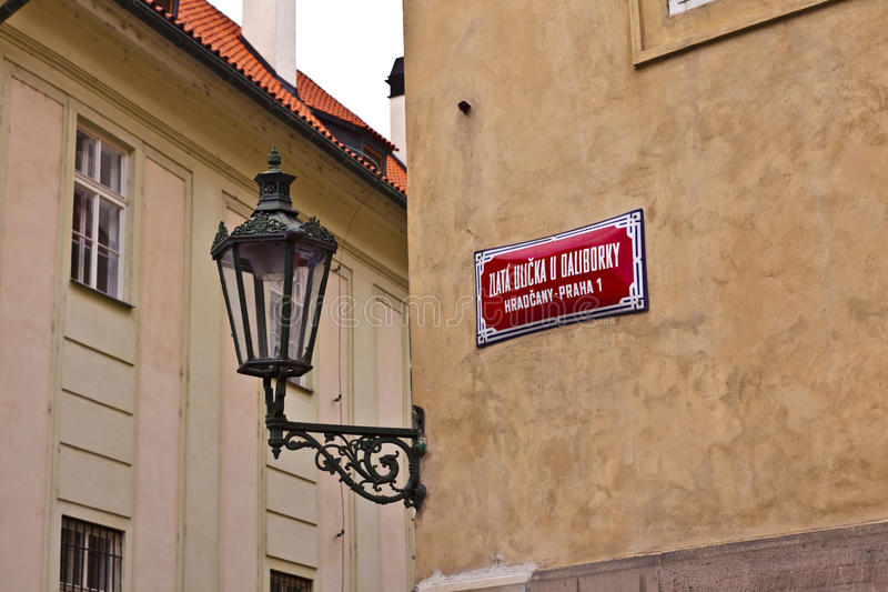 Golden Lane at Prague Castle street sign. stock image