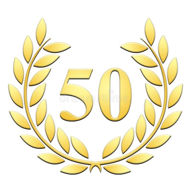 Gold laurel embossed 50th anniversary on white background stock illustration